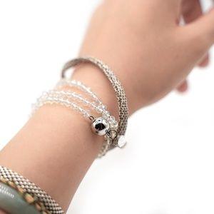 CatstoneNYC White Crystal Faux Leather  Bracelet